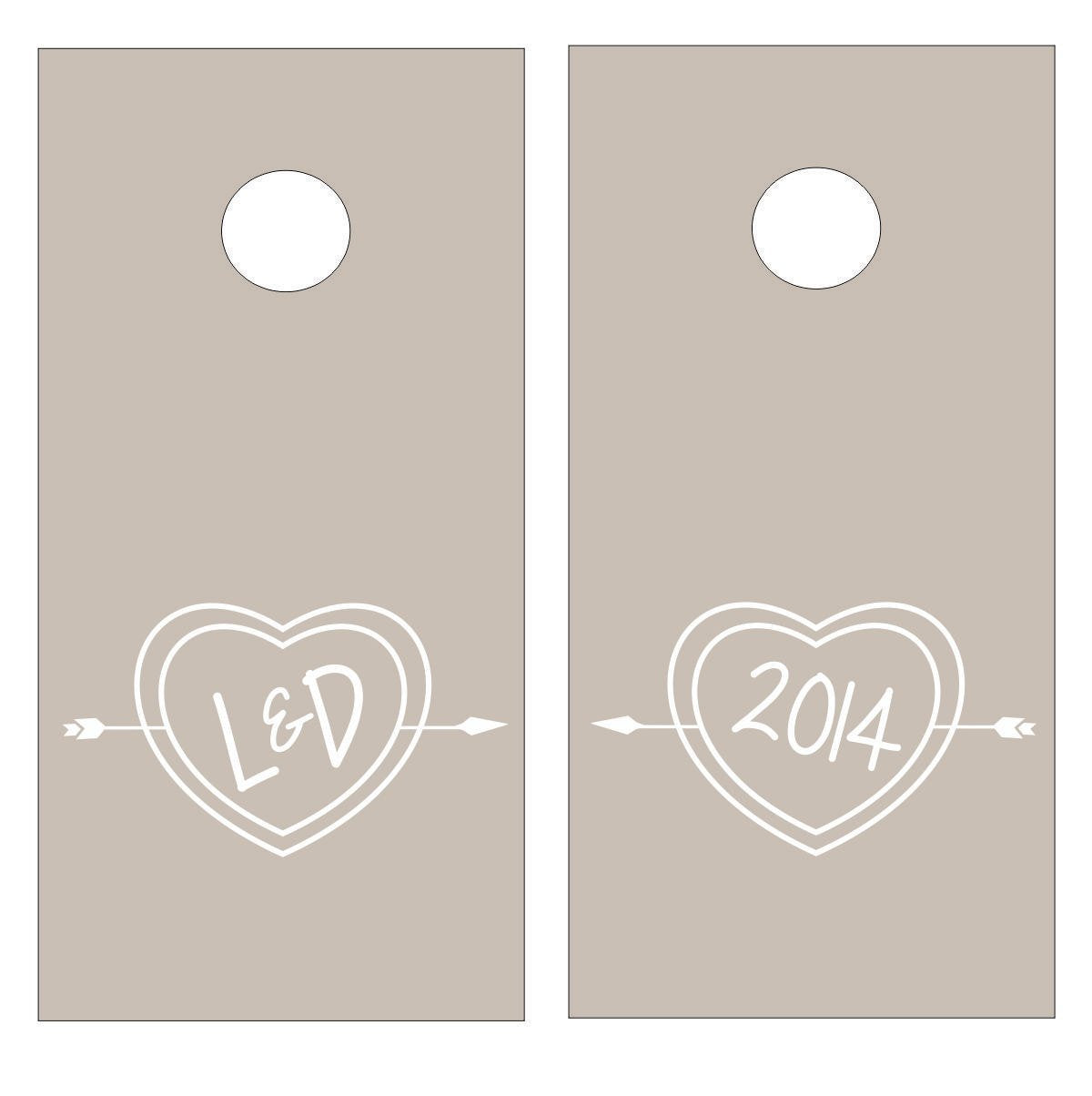 Carved Heart Bride & Groom Initials with Wedding Date Vinyl Decal Set for Cornhole Game Boards