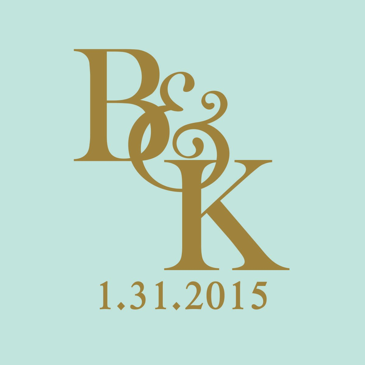 Bride & Groom Intertwined Initials with Wedding Date Vinyl Decals - Set of TWO for Cornhole Game