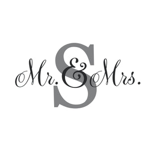 Personalized Initial and Name Decal for New Baby Nursery | Mr. & Mrs. Monogram Initial Decal for Wedding Sign |