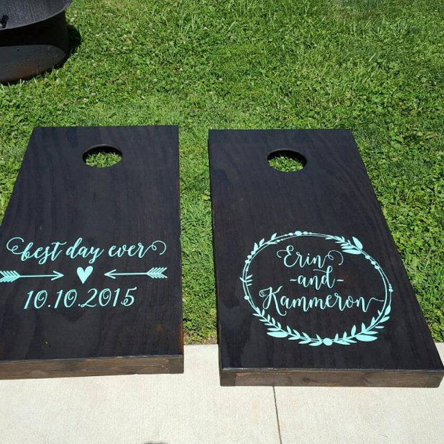 Personalized Wedding Wreath with Best Day Ever Decal Set for Corn Hole
