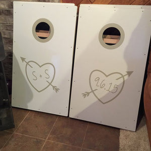 Wedding Cornhole Decals | Carved Heart Personalized Wedding Decor | Rustic Wedding