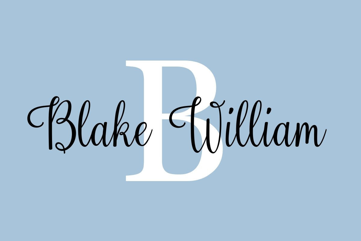 Personalized Name and Initial Monogram Wall Decal for Baby Boy Nursery