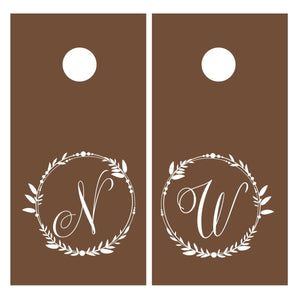 Rustic Style Personalized Wedding Wreath Vinyl Decal Set for Cornhole Game Boards