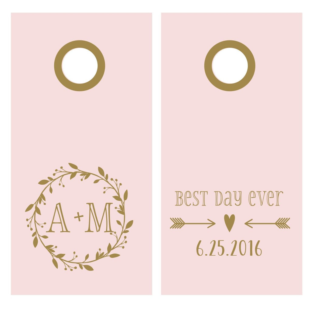 Custom Wedding Vinyl Decal Set for Cornhole | Best Day Ever Wedding Decal Set