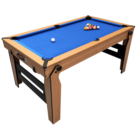 BCE Rolling/Lay Flat Folding Pool Table 5ft Blue Cloth with Table Tennis Top