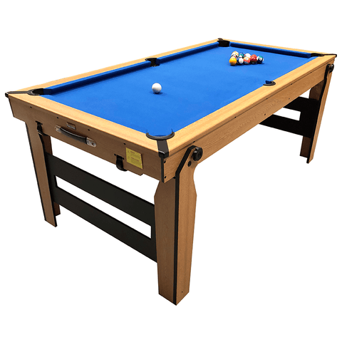 BCE Rolling/Lay Flat Folding Pool Table 6ft Blue Cloth with Table Tennis Top
