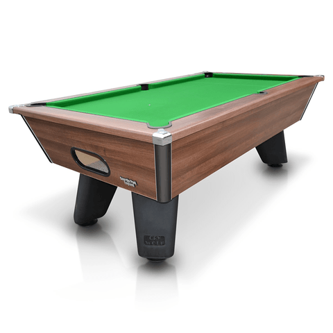 Geordie Pool Cry Wolf Outdoor Slate Bed Pool Table 6ft, 7ft Dark Walnut