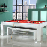 Geordie Pool Gloss White Pool Dining Table 7ft Slate Bed