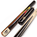 BCE Grand Master 3/4 Snooker Cue - Sapele Mahogany Butt 9.5mm Tip 145cm - Black/Red/Yellow