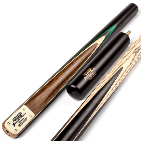 BCE Grand Master 3/4 Snooker Cue - Sapele Mahogany Butt 9.5mm Tip 145cm - Black/Natural/Green