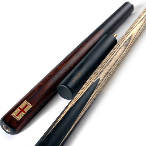 Riley England 3/4 Snooker Cue - Ebony Butt 9.5mm Tip 145cm - Black/Dark Brown