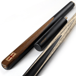 Riley England 3 Piece Snooker Cue and Hard Case 3/4 Cut - Sapele Mahogany Butt 9.5mm Tip 145cm - Black/ Dark Wood