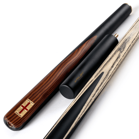 Riley England 3 Piece Snooker Cue and Hard Case 3/4 Cut - Sapele Mahogany Butt 9.5mm Tip 145cm - Black/Brown Wood