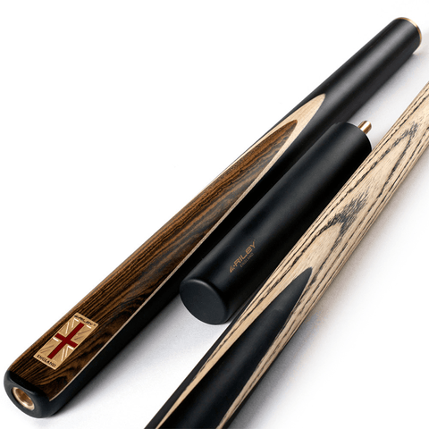 Riley England 3/4 Snooker Cue - Ebony Butt 9.5mm Tip 145cm - Black/Dark Wood