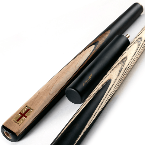 9.5mm Tip Black//Natural//Blue 145cm BCE 3 Piece Grand Master Snooker Cue and Hard Case 3//4 Cut- Sapele Mahogany Butt