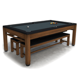 Riley Neptune Outdoor Slate American Pool Dining Table 7ft Aluminium - Brown/Black