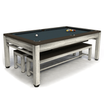 Riley Neptune Outdoor Slate American Pool Dining Table 7ft Aluminium - Brushed Grey/Brown