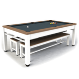 Riley Neptune Outdoor Slate American Pool Dining Table 7ft Aluminium - White/Tan