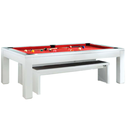 Geordie Pool Gloss White American Pool Dining Table 7ft