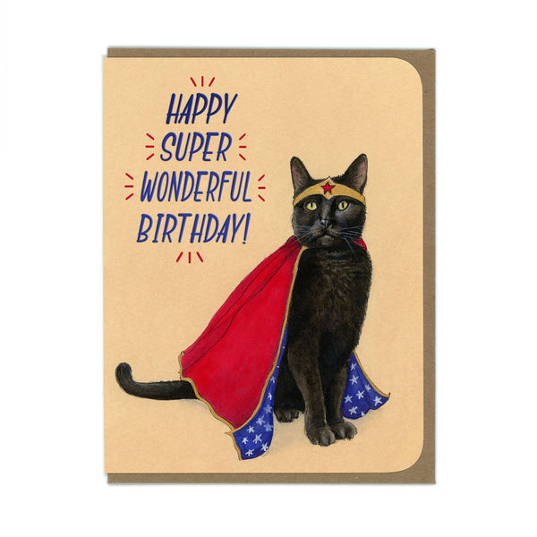 Amy Rose - BIRTHDAY Super Hero Kitty Greeting Card - Two Little Birds Boutique