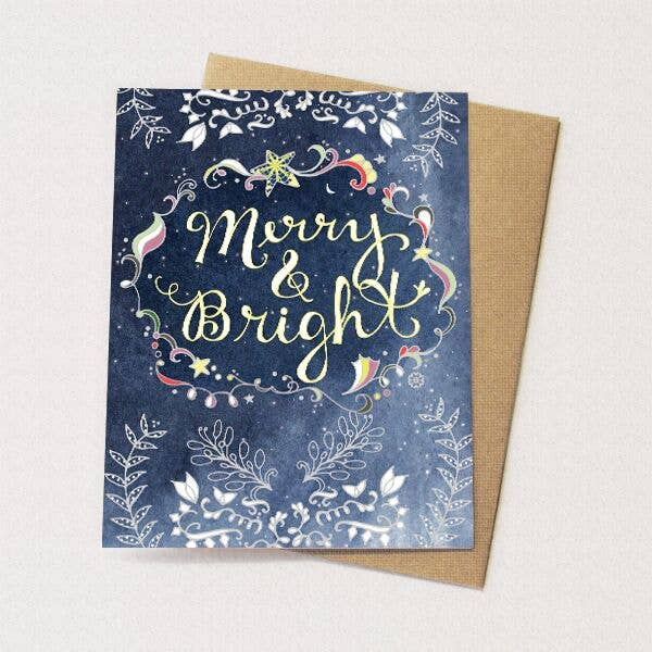 Cynla - Starry Merry Card - holiday card, christmas, stars, moon - Two Little Birds Boutique