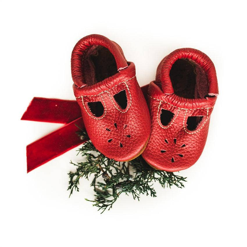 Starry Knight Design - Cherry Red T-Strap Shoes Baby and Toddler - Two Little Birds Boutique
