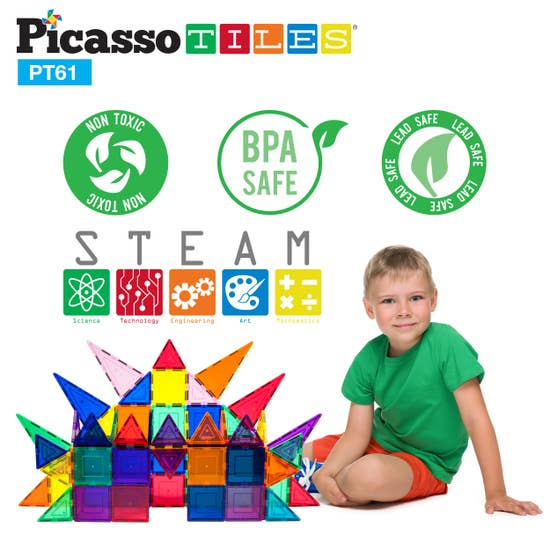 Picasso Tiles - 61 Piece 3D Magnetic Building Blocks - Two Little Birds Boutique