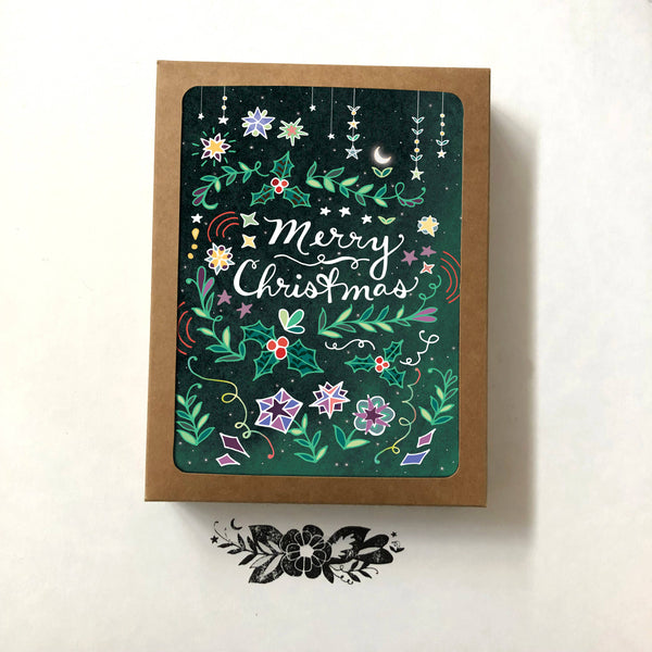Cynla - Merry Christmas Card - BOX of 8 holiday cards, starry xmas - Two Little Birds Boutique