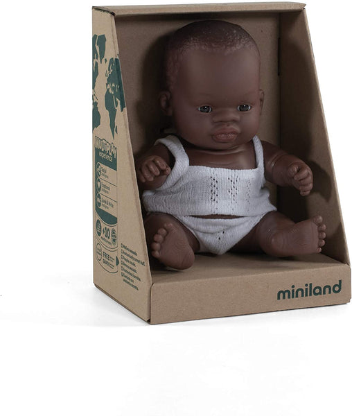 "Miniland - Newborn Baby Doll African Baby (21cm  8 1/4"") - Two Little Birds Boutique"