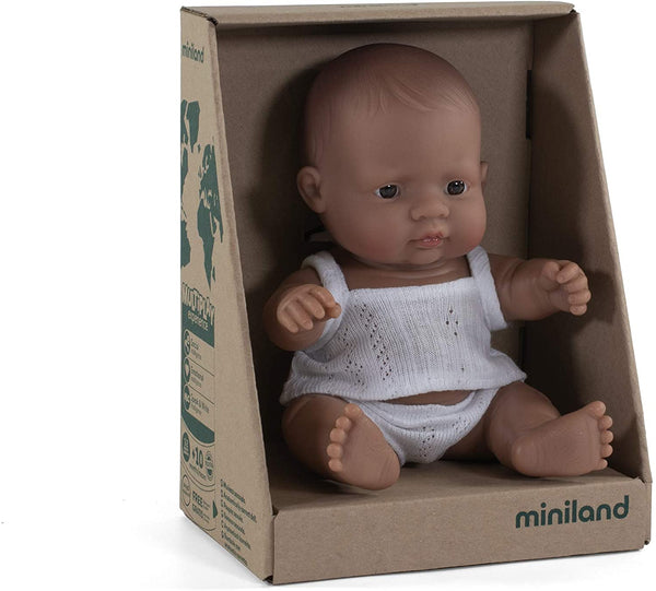 "Miniland - Newborn Baby Doll Hispanic Baby (21cm  8 1/4"") - Two Little Birds Boutique"
