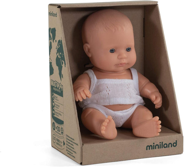 "Miniland - Newborn Baby Doll Caucasian Baby (21cm  8 1/4"") - Two Little Birds Boutique"
