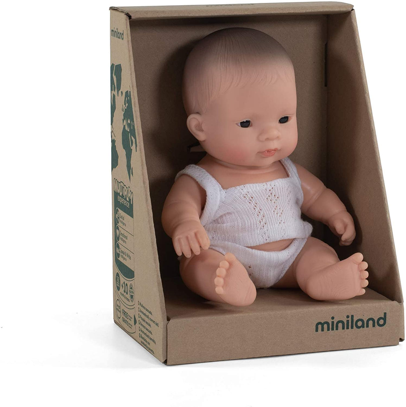 "Miniland - Newborn Baby Doll Asian Baby (21cm 8 1/4"") - Two Little Birds Boutique"