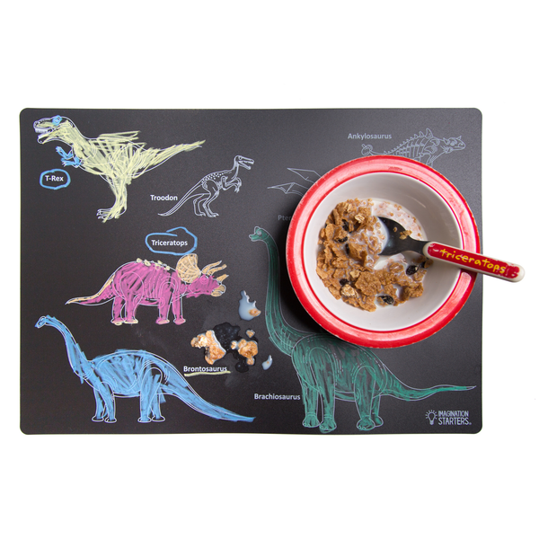 Imagination Starters - Chalkboard Dinosaur Placemat - Two Little Birds Boutique