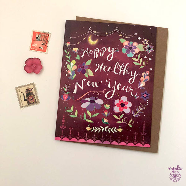 Cynla - Healthy New Year Card - holiday greeting card happy new year - Two Little Birds Boutique