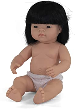 "Miniland - Baby Doll Asian Girl (38 cm  15"") - No Top - Two Little Birds Boutique"