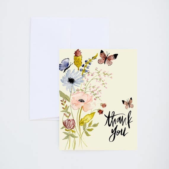 Shannon Kirsten Illustration - Botanicals & Butterflies Thank You Card - Two Little Birds Boutique