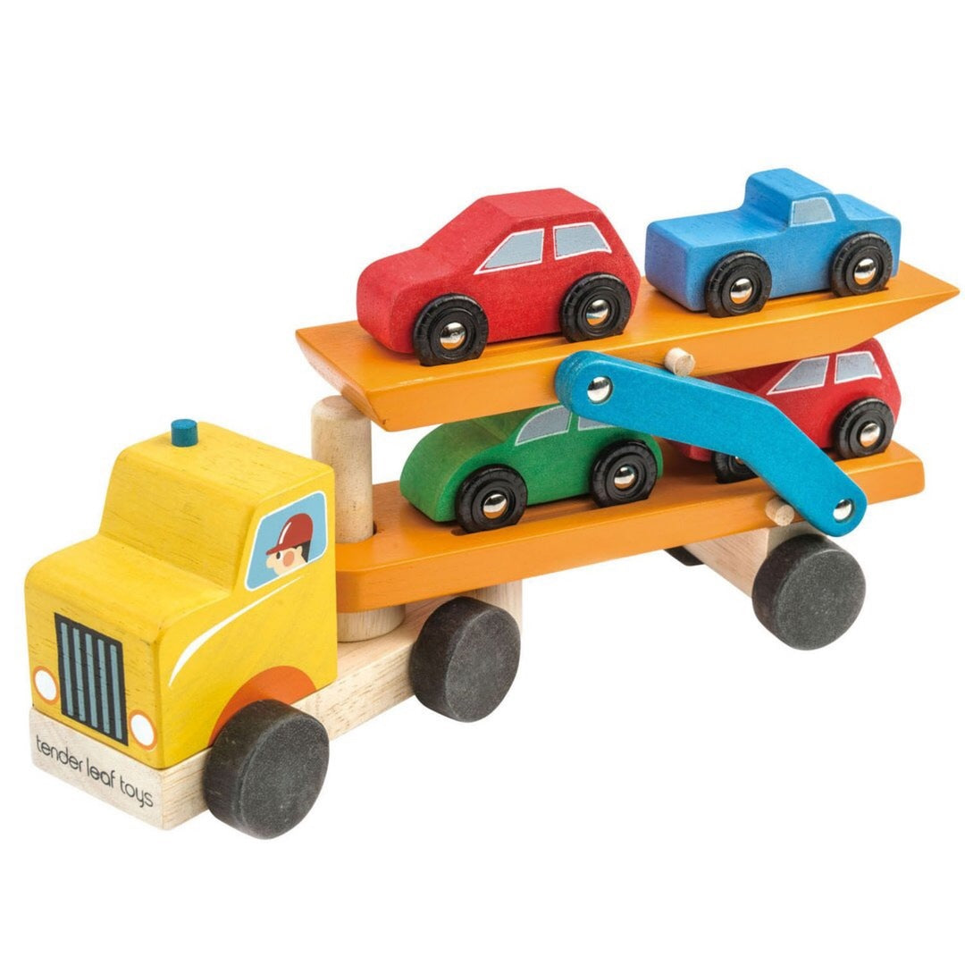 wooden cars trucks transporter play montessori preschool toddler waldorf