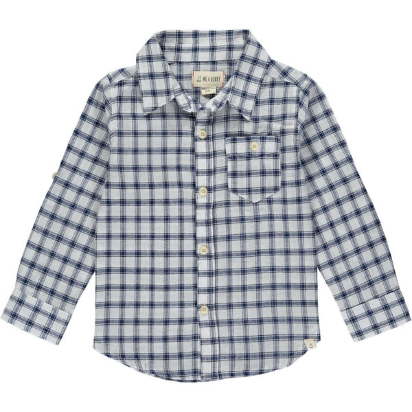 Me & Henry - Navy and White Plaid Shirt - Boy and Daddy Sizing - Two Little Birds Boutique