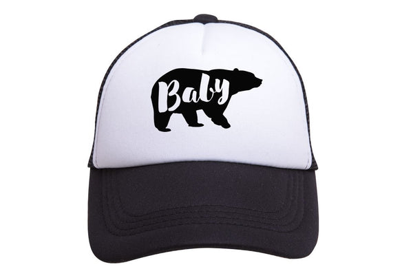 Tiny Trucker - Baby Bear - Black and White Trucker Hat - Two Little Birds Boutique