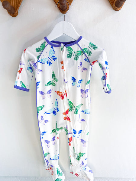 Sweet Bamboo - Piped Zipper Footie Rainbow Butterflies - Two Little Birds Boutique