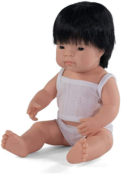 "Miniland - Baby Doll Asian Boy (38 cm  15"")- With Box & Top - Two Little Birds Boutique"