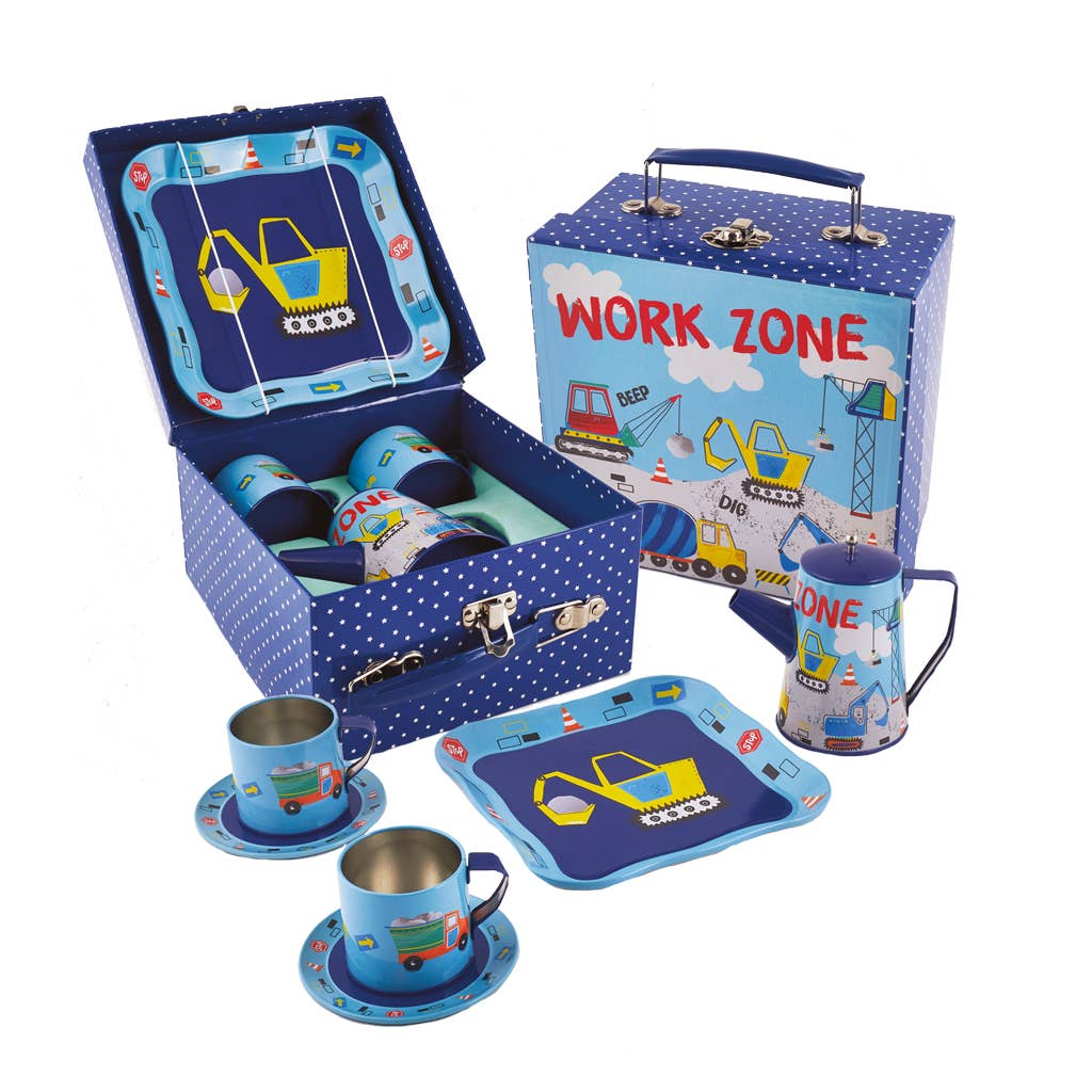 Floss and Rock - Construction Tin Coffee Set in Square Case - Two Little Birds Boutique