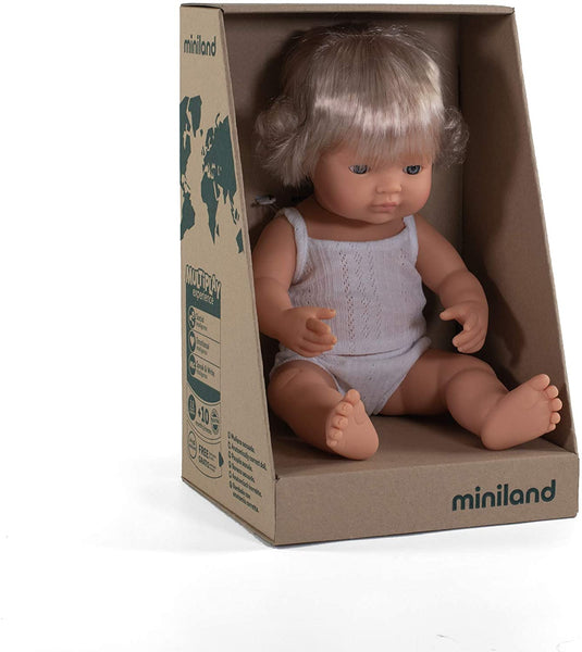 "Miniland - Baby Doll Caucasian Blonde Girl (38 cm  15"")- With Box & Top - Two Little Birds Boutique"