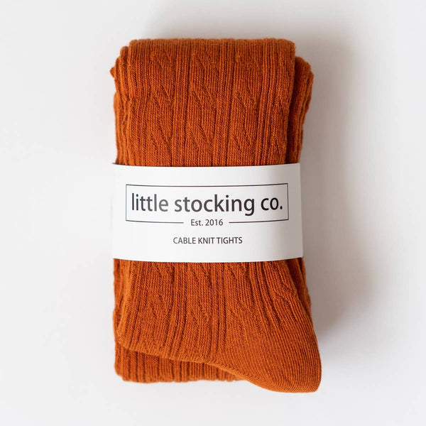 Little Stocking Co. - Pumpkin Spice Cable Knit Tights - Two Little Birds Boutique