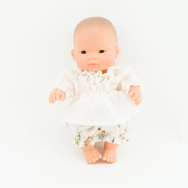 Doll Clothing - 2 Piece Set Floral Cotton Bloomers and White Top