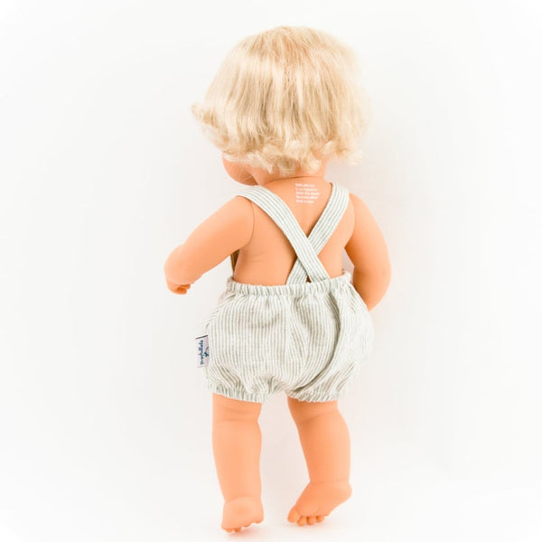 Doll Clothing - Beige Striped Linen Overalls - Two Little Birds Boutique