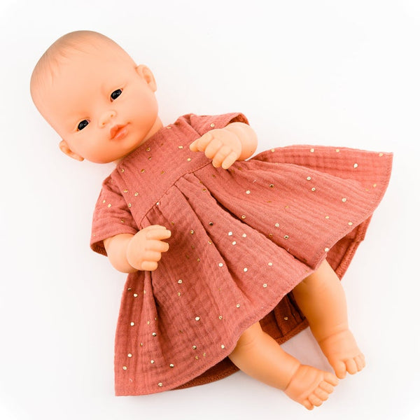Handmade Doll Clothing - Marsala Muslin Dress - Two Little Birds Boutique