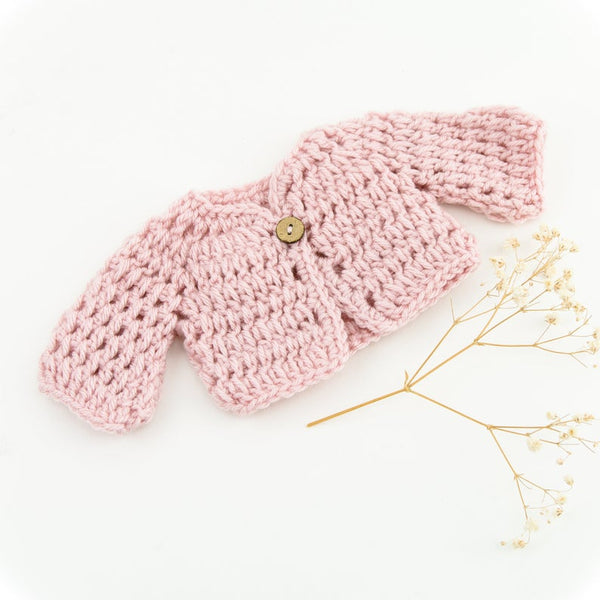 Handmade Doll Clothing - Hand Knit Pink Sweater - Two Little Birds Boutique
