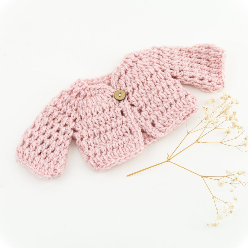 Handmade Doll Clothing - Hand Knit Pink Sweater
