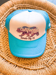 Grom Squad - Cali Grown Trucker Hat - Nevada City - Aqua - Two Little Birds Boutique